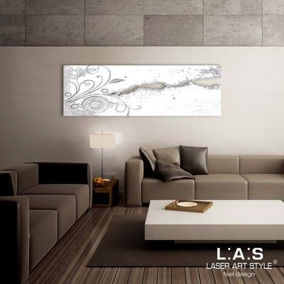 Quadri Astratti </br> Codice: SI-092-B | Misura: 180x58 cm </br> Colore: bianco-decoro foglia argento-incisione tono su tono