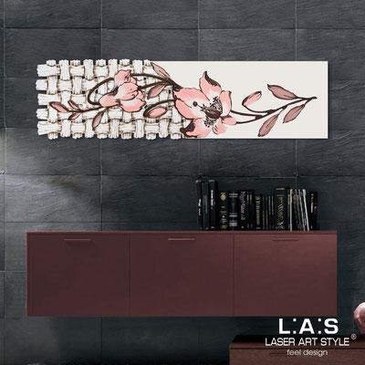 Quadri Floreali </br>  Codice: SI-075-B   Misura: 148x50 cm </br>  Colore: panna-decoro salmone-incisione legno