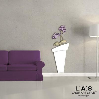 Quadri Floreali </br>  Codice: SI-180-B   Misura: 52x140 cm </br>  Colore: bianco-decoro prugna-incisione legno