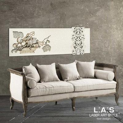 Quadri Floreali </br>  Codice: SI-217   Misura: 180x60 cm </br>  Colore: grigio luce-panna-decoro marrone-incisione legno