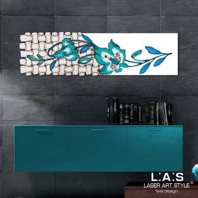 Quadri Floreali </br>  Codice: SI-075-B   Misura: 148x50 cm </br>  Colore: bianco-decoro bluette-incisione legno