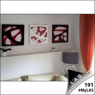 A casa di Erika e Mario   Italia </br> SI-146   Misura: 45x45 cm/cad <br> Colore: rosso/nero-bianco-nero