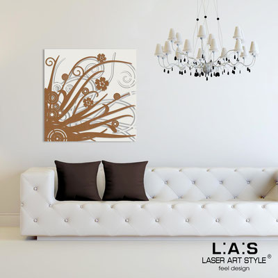 Abstract wall sculptures </br> Code: SI-107Q | Size: 90x90 cm </br> Colour: cream-bronze