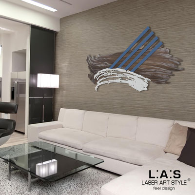 Abstract wall sculptures </br> Code: SI-253 | Size: 155x87 cm </br> Colour: clay aluminum decoration-silver-denim