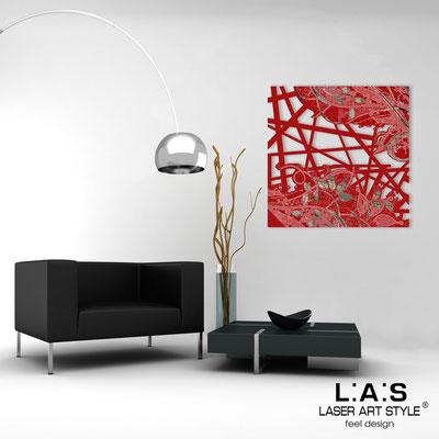 Quadri Astratti </br> Codice: SI-110Q | Misura: 90x90 cm </br> Colore: rosso-incisione nero