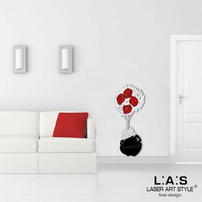 Quadri Floreali </br>  Codice: SI-181-C | Misura: 56x135 cm </br>  Colore: nero-decoro rosso-incisione legno
