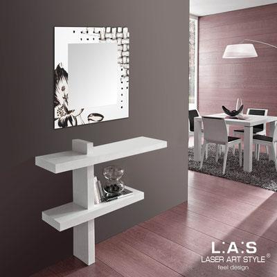 Specchiere </br> Codice: SI-075Q-SP | Misura: 90x90 cm </br>  Colore: bianco-decoro nero-incisione legno