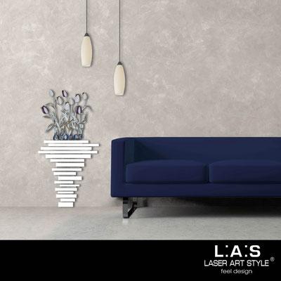 Quadri Floreali </br>  Codice: SI-193-H | Misura: 63x124 cm </br>  Colore: bianco-decoro violaceo-incisione legno