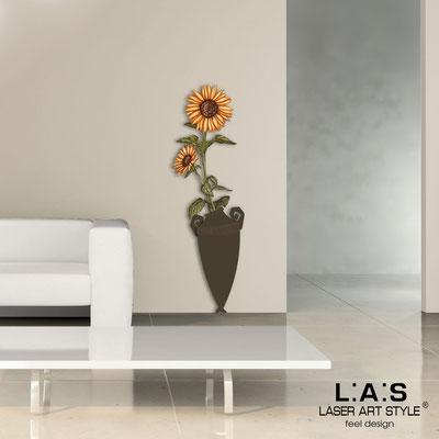 Quadri Floreali </br>  Codice: SI-179-D | Misura: 54x176 cm </br>  Colore: marrone-decoro ruggine-incisione legno