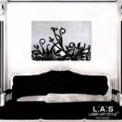 Abstract wall sculptures </br> Code: SI-135 | Size: 150x100 cm </br> Code: SI-135M | Size: 100x67 cm </br> Colour: silver leaf stucco decoration-black