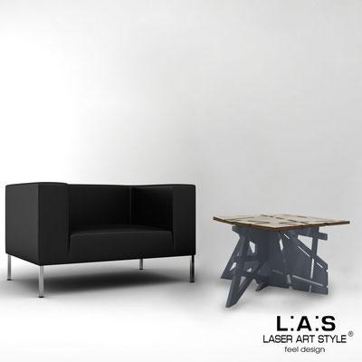 Complementi d'arredo </br> Codice: MG-294 | Misura: 60x60 h40 cm </br> Colore: grey wood-antracite-acciaio inox-incisione legno