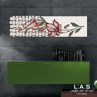 Quadri Floreali </br>  Codice: SI-075-B   Misura: 148x50 cm </br>  Colore: panna-decoro ruggine-incisione legno