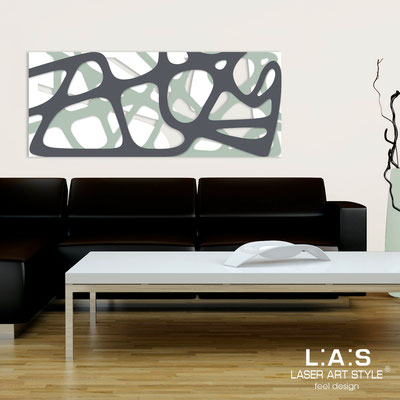 Abstract wall sculptures </br> Code: SI-159 | Size: 140x58 cm </br> Colour: white-grey green-charcoal grey