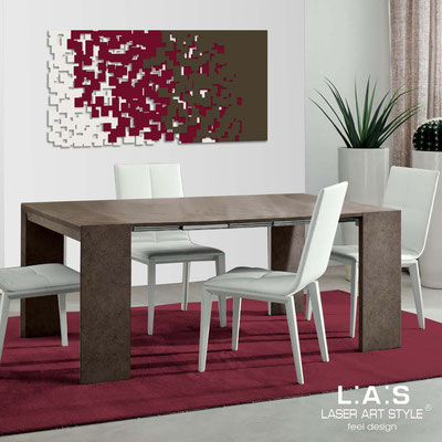 Abstract wall sculptures </br> Code: SI-125 | Size: 150x75 cm </br> Code: SI-125M | Size: 100x50 cm </br> Colour: cream-burgundy-brown