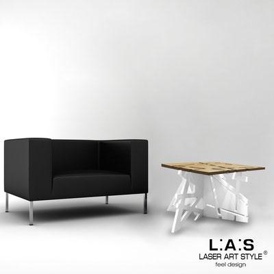 Complementi d'arredo </br> Codice: MW-294 | Misura: 60x60 h40 cm </br> Colore: natural wood-bianco-acciaio inox-incisione legno