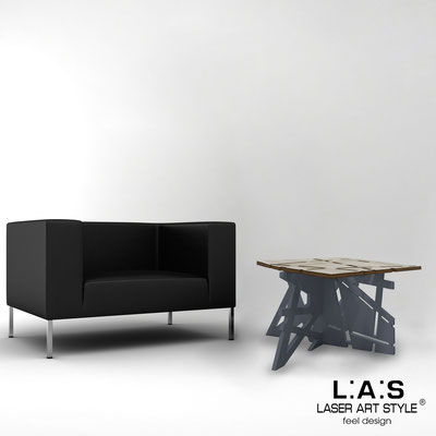 Furnishings </br> Code: MG-294   Size: 60x60 h40 cm </br> Colour: grey wood-charcoal grey-inox steel-wood engraving