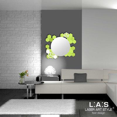 Specchiere </br> Codice: SI-311 | Misura: 90x75 cm </br>  Colore: verde acido-bianco-incisione tono su tono