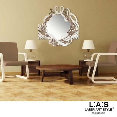 Specchiere </br> Codice: SI-225-SP | Misura: 90x90 cm </br>  Colore: panna-incisione legno-decoro marrone shabby