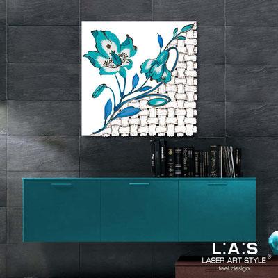 Quadri Floreali </br>  Codice: SI-075Q   Misura: 90x90 cm </br>  Colore: bianco-decoro bluette-incisione legno