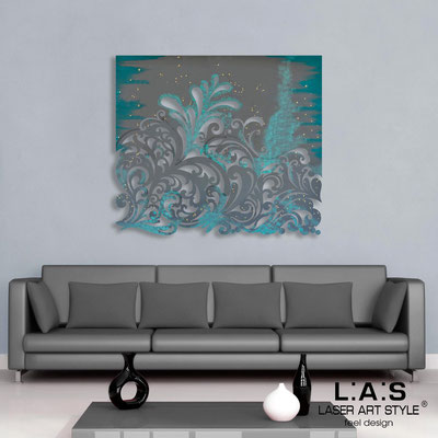 Abstract wall sculptures </br> Code: SI-169 | Size: 100x90 cm </br> Colour: charcoal grey-aquamarine gold decoration