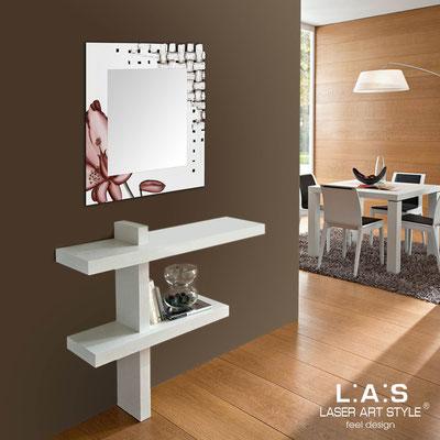 Specchiere </br> Codice: SI-075Q-SP | Misura: 90x90 cm </br>  Colore: panna-decoro ruggine-incisione legno