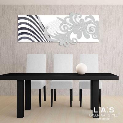Quadri Astratti </br> Codice: SI-134 | Misura: 150x60 cm </br> Colore: bianco-argento-incisione nero