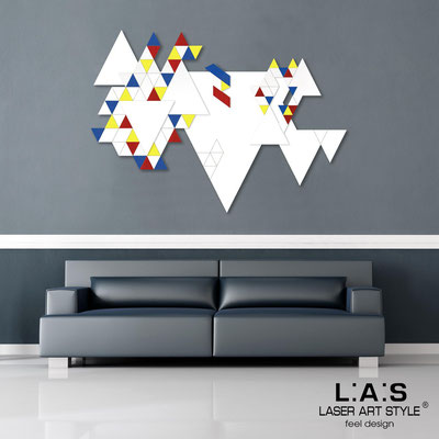 Abstract wall sculptures </br> Code: SI-233 | Size: 140x97 cm </br> Colour: white-primary colors decoration-white-wood engraving