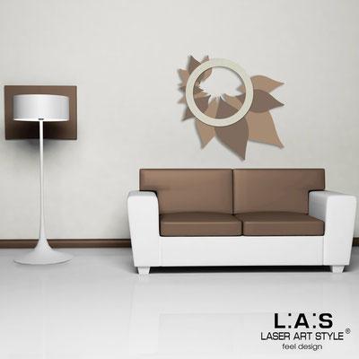 Quadri Floreali </br>  Codice: SI-209   Misura: 90x90 cm </br>  Colore: nocciola-grigio marrone-decoro stucco panna