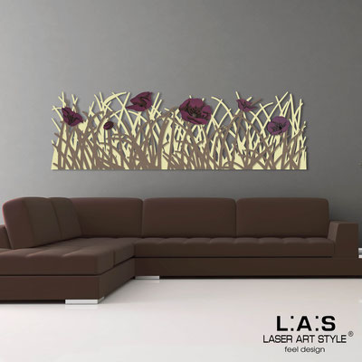 Floral wall sculpture </br> Code: SI-214 | Size: 180x55 cm </br> Colour: sand-dove grey-purple decoration