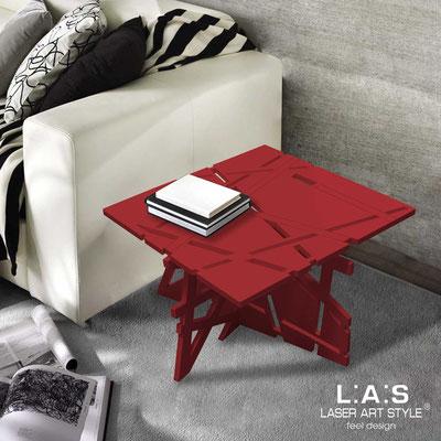 Complementi d'arredo </br> Codice: SI-294 | Misura: 60x60 h40 cm </br> Colore: rosso-acciaio inox-incisione tono su tono