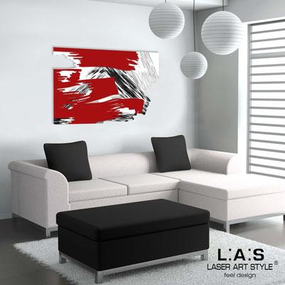 Quadri Astratti </br> Codice: SI-262 | Misura: 150x100 cm </br> Colore: bianco-rosso-decoro nero
