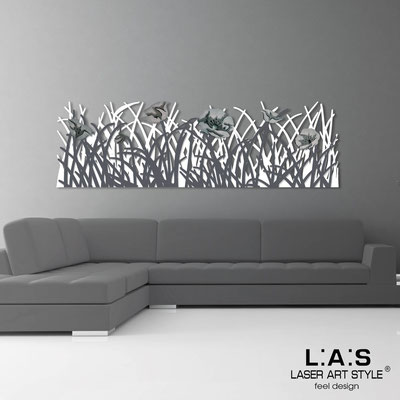 Floral wall sculpture </br> Code: SI-214 | Size: 180x55 cm </br> Colour: white-charcoal grey-grey decoration