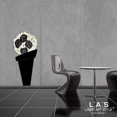 Floral wall sculpture </br> Code: SI-182-B | Size: 56x127 cm </br> Colour: black-black decoration-wood engraving