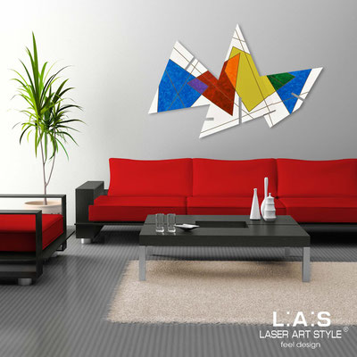 Abstract wall sculptures </br> Code: SI-184 | Size: 150x100 cm </br> Colour: white-multicoloured decoration-wood engraving