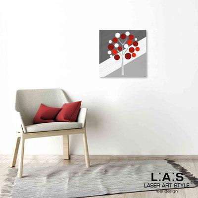 Quarantotto </br>  Codice: Q-009 | Misura: 48x48 cm </br> Colore: decoro rosso-incisione legno