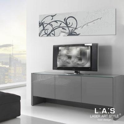 Quadri Astratti </br> Codice: SI-109-B | Misura: 180x58 cm </br> Colore: grigio luce-decoro grigio-incisione tono su tono