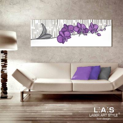 Quadri Floreali </br>  Codice: SI-087-B   Misura: 148x50 cm </br>  Colore: bianco-decoro violaceo-incisione tono su tono