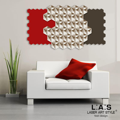 Abstract wall sculptures </br> Code: SI-142 | Size: 125x70 cm </br> Colour: red-brown-cream-wood engraving