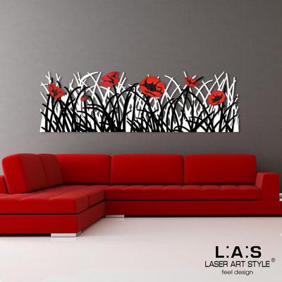Quadri Floreali </br>  Codice: SI-214   Misura: 180x55 cm </br>  Colore: bianco-nero-decoro rosso