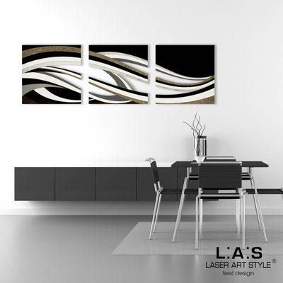 Quadri Astratti </br> Codice: SI-114A | Misura: 3 pz 60x60 cm/cad </br> Colore: decoro nero-incisione legno