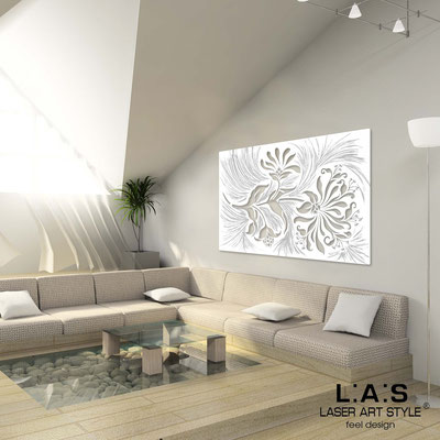 Floral wall sculpture </br> Code: SI-137 | Size: 150x100 cm </br> Code: SI-137M | Size: 100x67 cm </br> Colour: white-silvery stucco decoration