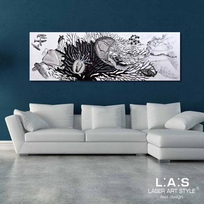 Quadri Figurativi </br> Codice: SI-129 | Misura: 180x60 cm </br> Colore: bianco-decoro nero-incisione legno