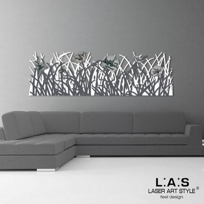 Quadri Floreali </br>  Codice: SI-214   Misura: 180x55 cm </br>  Colore: bianco-antracite-decoro grigio