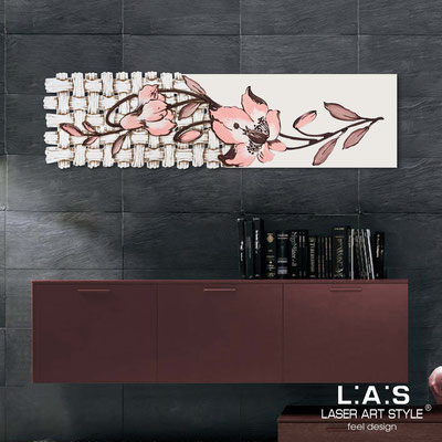 Floral wall sculpture </br> Code: SI-075-B | Size: 148x50 cm </br> Colour: cream-salmon decoration-wood engraving