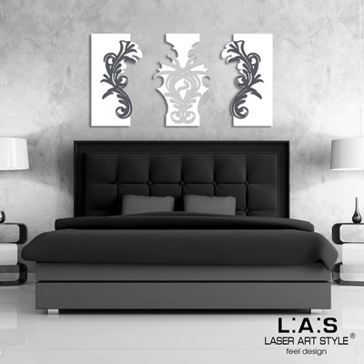 Abstract wall sculptures </br> Code: SI-251 | Size: 150x87 cm </br> Colour: white/charcoal grey-silver-charcoal grey