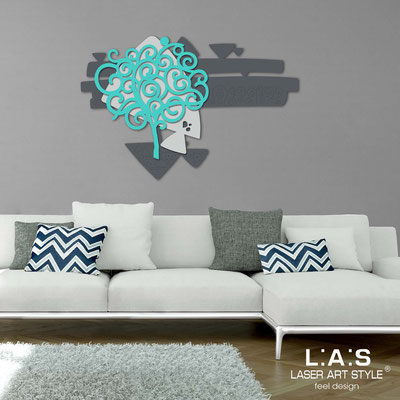 Floral wall sculpture </br> Code: SI-355 | Size: 150x100 cm </br> Colour: charcoal grey-light grey-turquoise
