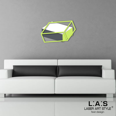 Quadri Astratti </br> Codice: SI-304 | Misura: 80x50 cm </br> Colore: bianco-verde acido-antracite/verde acido