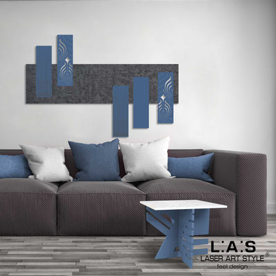 Abstract wall sculptures </br> Code: SI-353 | Size: 150x100 cm </br> Colour: concrete decoration-denim-wood engraving