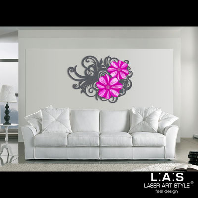 Floral wall sculpture </br> Code: SI-100 | Size: 150x100 cm </br> Code: SI-100M | Size: 100x67 cm </br> Colour: charcoal grey-pink decoration-matched engraving