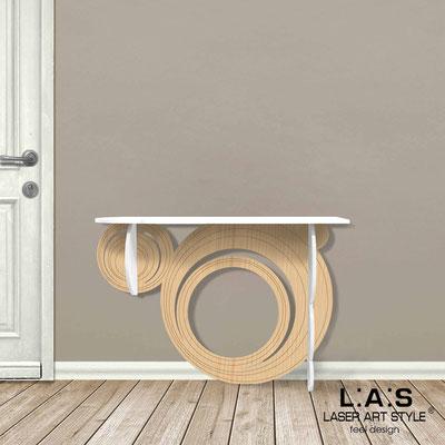 Complementi d'arredo </br> Codice: MW-280 | Misura: 120x40 h80 cm </br> Colore: bianco-natural wood-incisione legno